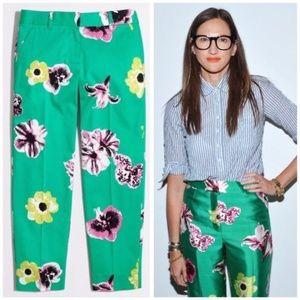J. CREW Punk Floral Print Skimmer Crop Pants - 0